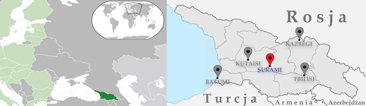 Mapa Gruzji – miejsca, które odwiedziliśmy. Źródła: Wikipedia