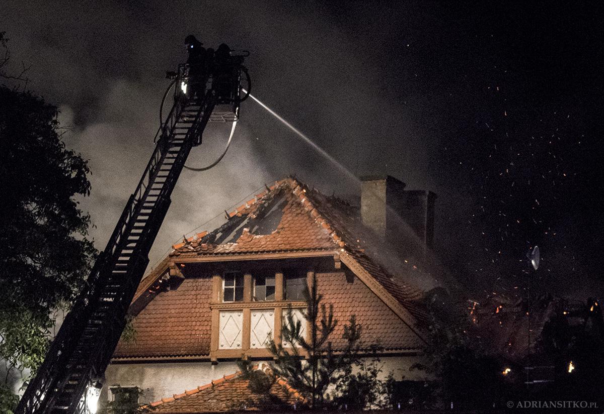 Pożar budynku przy ulicy Parkowej